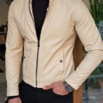 Aysoti Beige Slim Fit Leather Coat