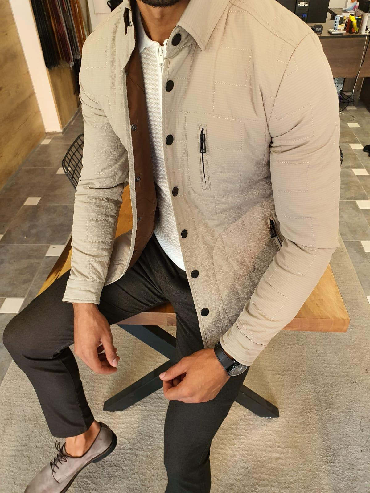 Tavira Beige Slim Fit Zipper Jacket