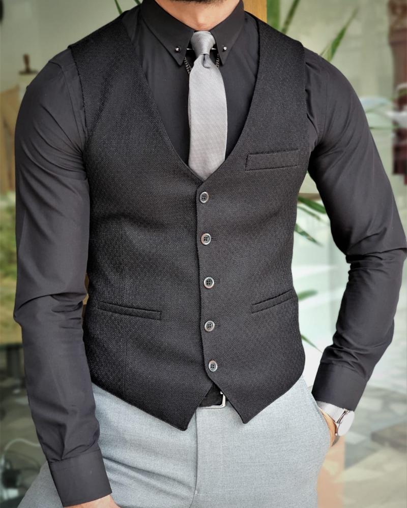 Aysoti Soffran Black Slim Fit Vest