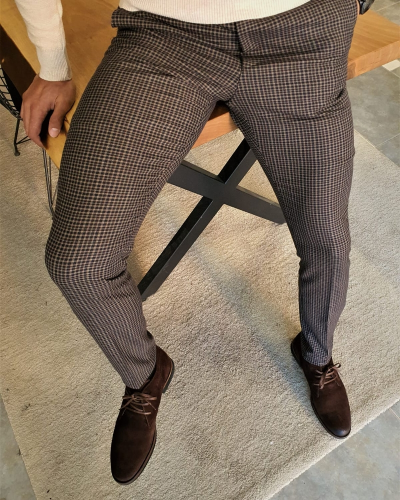 Aysoti Tegol Camel Slim Fit Plaid Pants