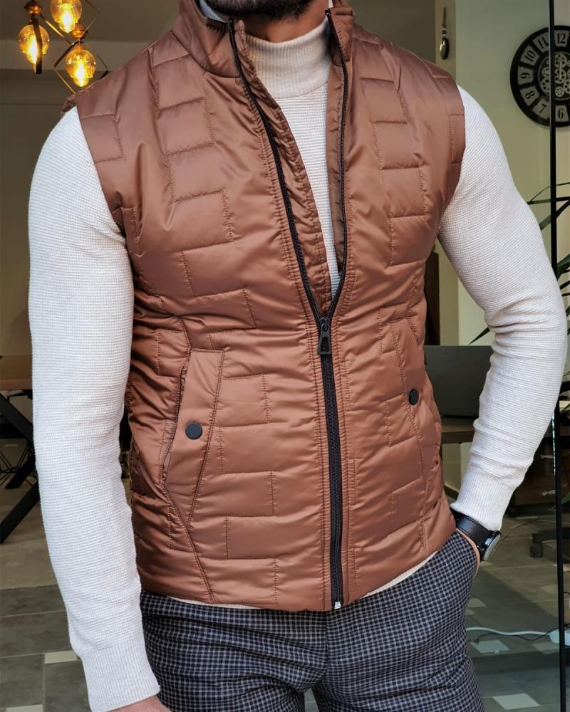 Aysoti Camel Slim Fit Puffer Jacket