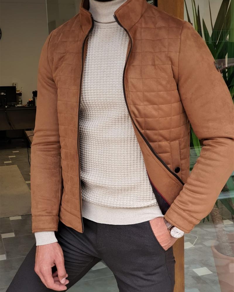 Aysoti Lorgan Camel Slim Fit Wool Coat