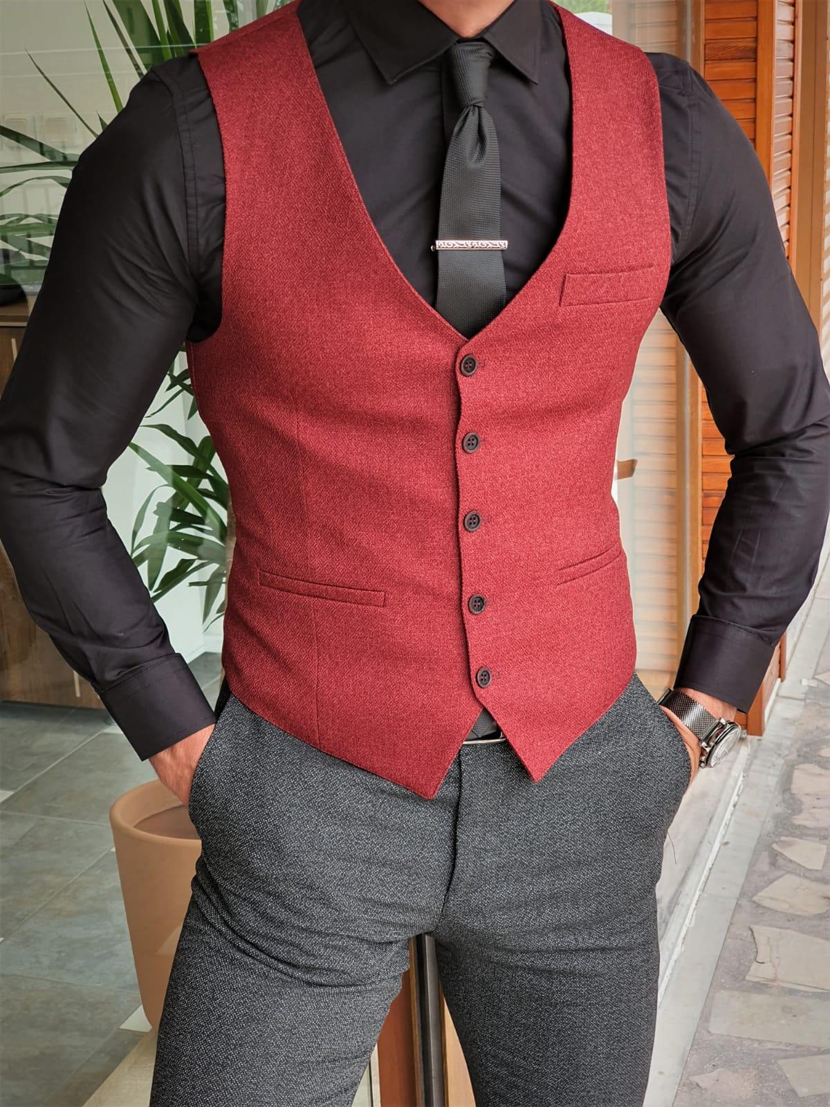 Aysoti Soffran Claret Red Slim Fit Vest
