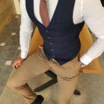 Aysoti Soffran Navy Blue Slim Fit Vest
