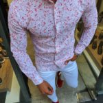 Aysoti Red Slim Fit Floral Cotton Shirt