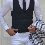 Aysoti New Black Slim Fit Double Breasted Vest