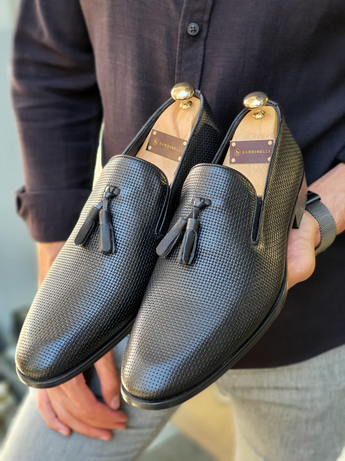 Aysoti Black Patterned Tassel Loafer