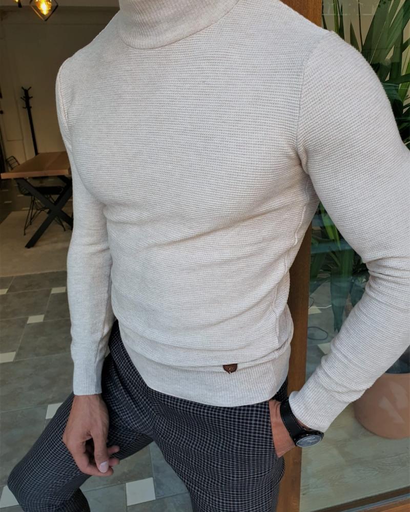 Aysoti Beige Slim Fit Mock Turtleneck Sweater