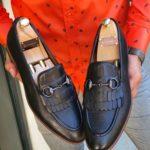 Aysoti Black Kilt Bit Loafers