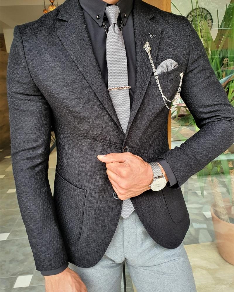 Aysoti Verdak Black Slim Fit Blazer
