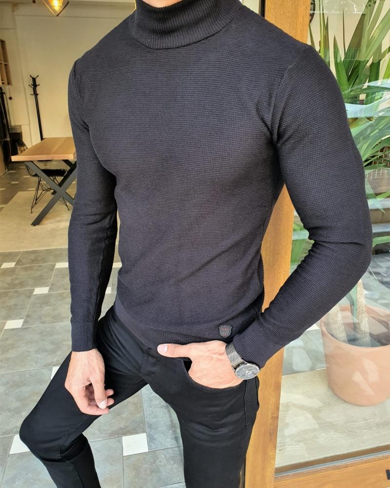 Aysoti Black Slim Fit Mock Turtleneck Sweater