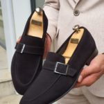 Aysoti Black Suede Buckle Loafers