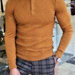 Slim-Fit Maglan Camel Slim Fit Collar Sweater