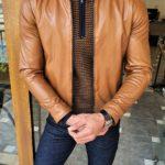 Aysoti Camel Slim Fit Leather Jacket