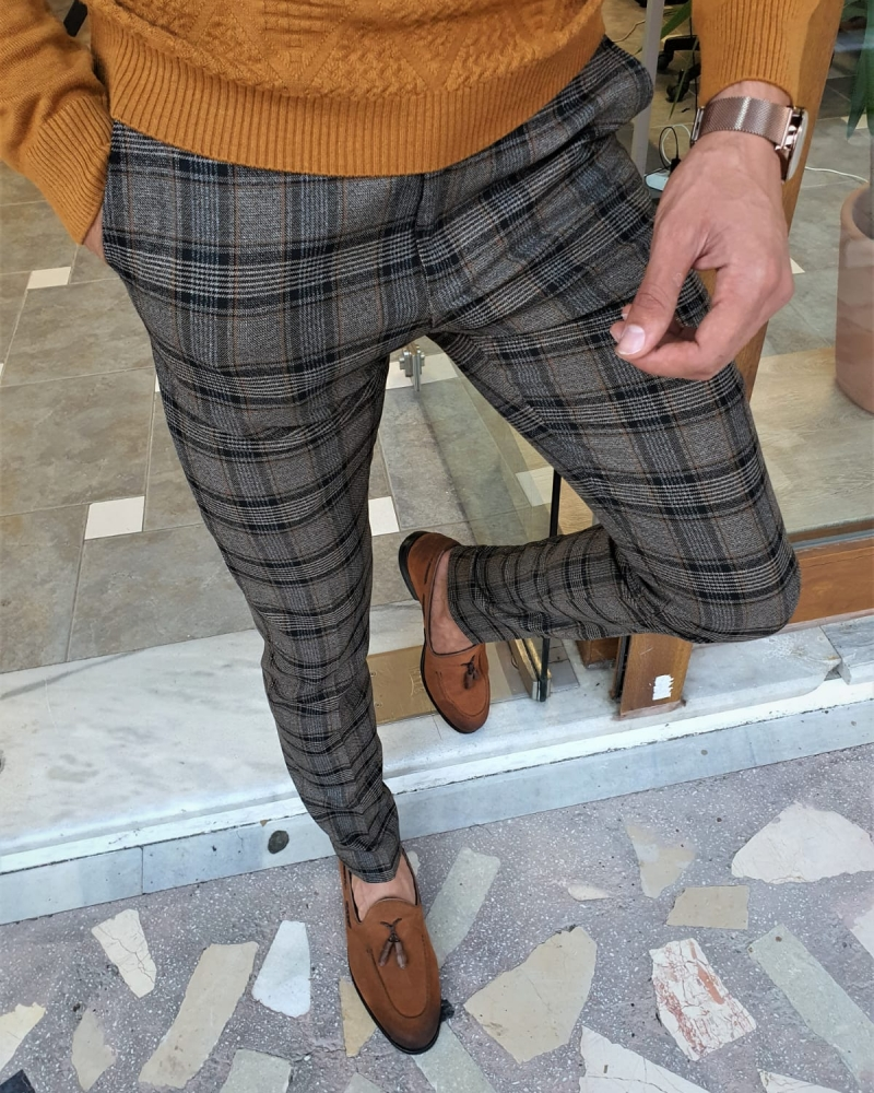 Aysoti Tegol Camel Slim Fit Plaid Pants Dark