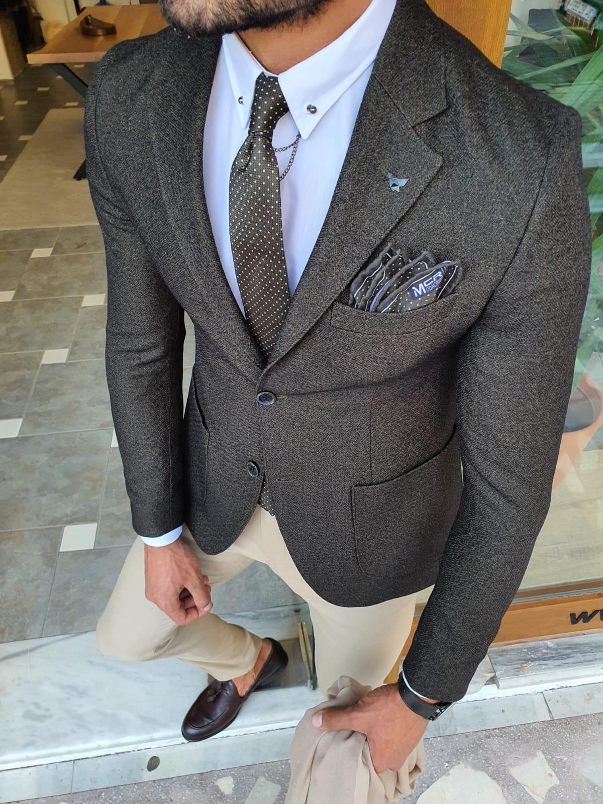Aysoti Verdak Khaki Slim Fit Blazer