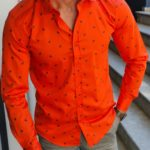Aysoti Orange Slim Fit Floral Shirt