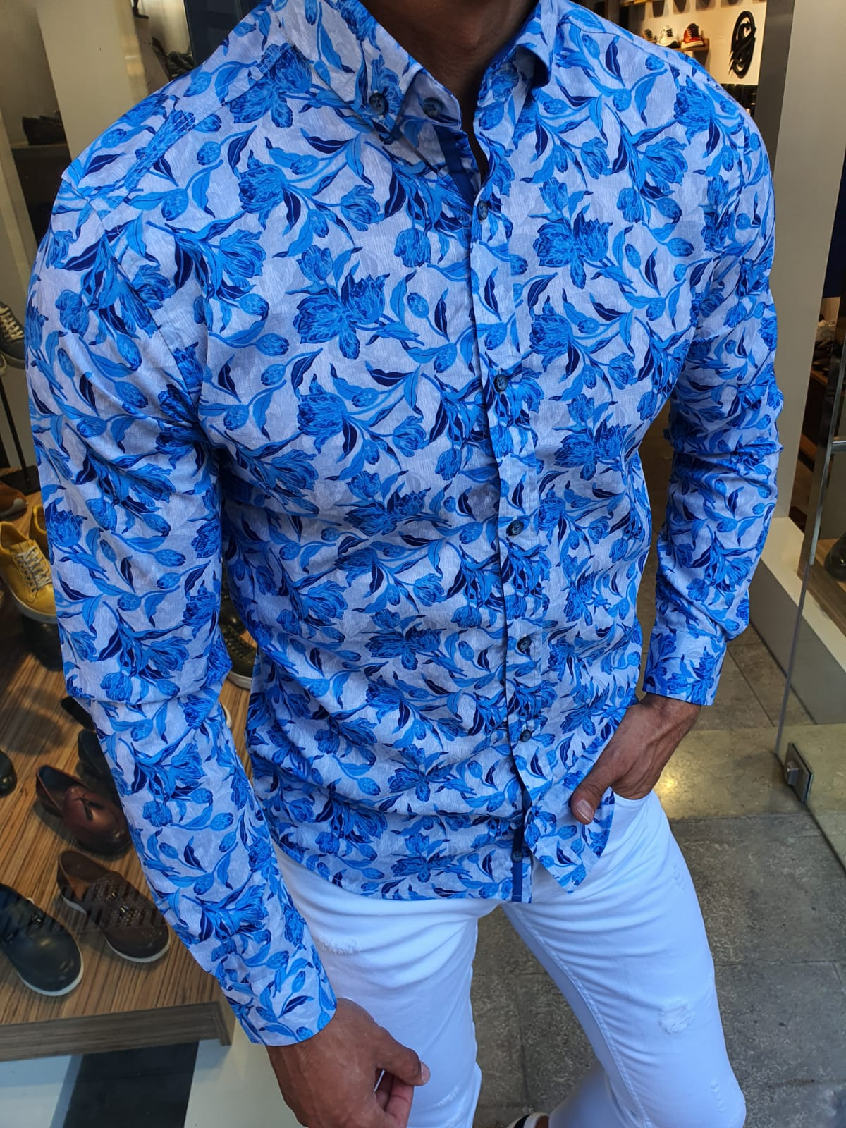 Aysoti Turquoise Slim Fit Floral Shirt