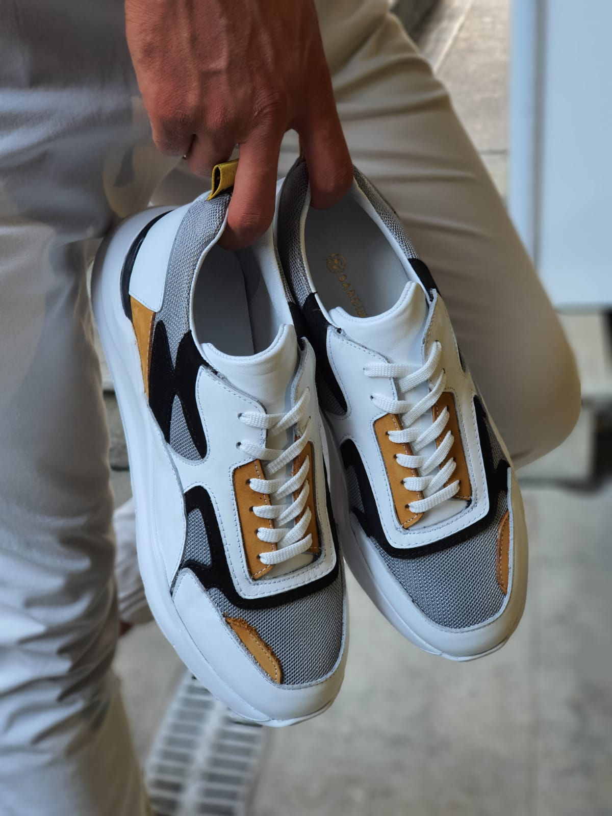 Aysoti White Mid Top Sneakers