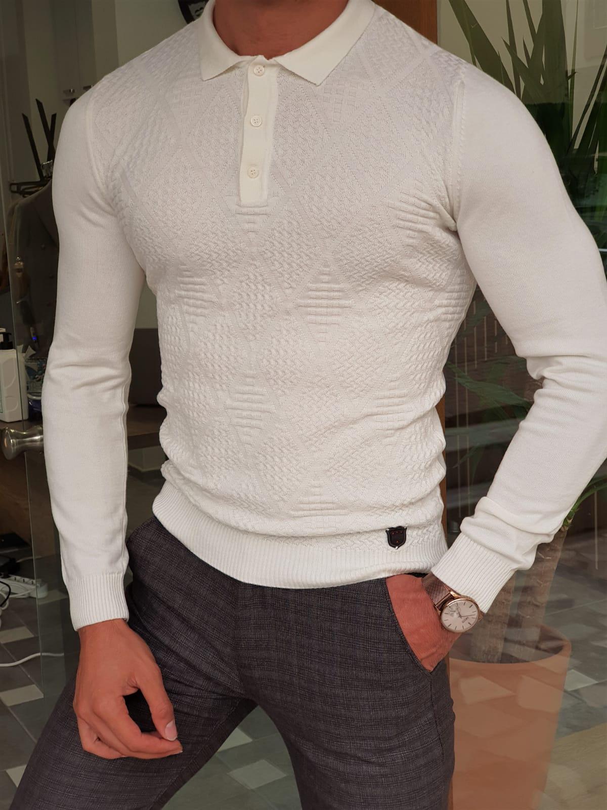 Aysoti Maglan White Slim Fit Collar Sweater