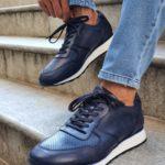 Aysoti Blue Mid-Top Sneakers