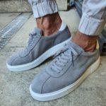 Aysoti Gray Mid-Top Suede Sneaker