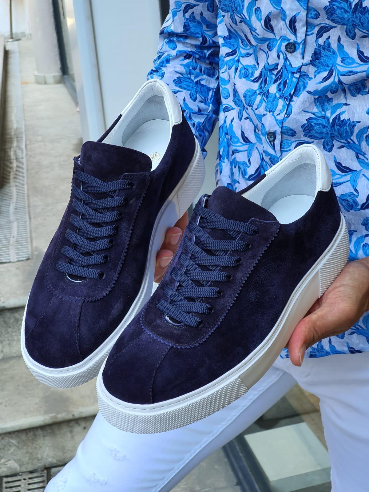 Aysoti Navy Blue Mid-Top Suede Sneaker
