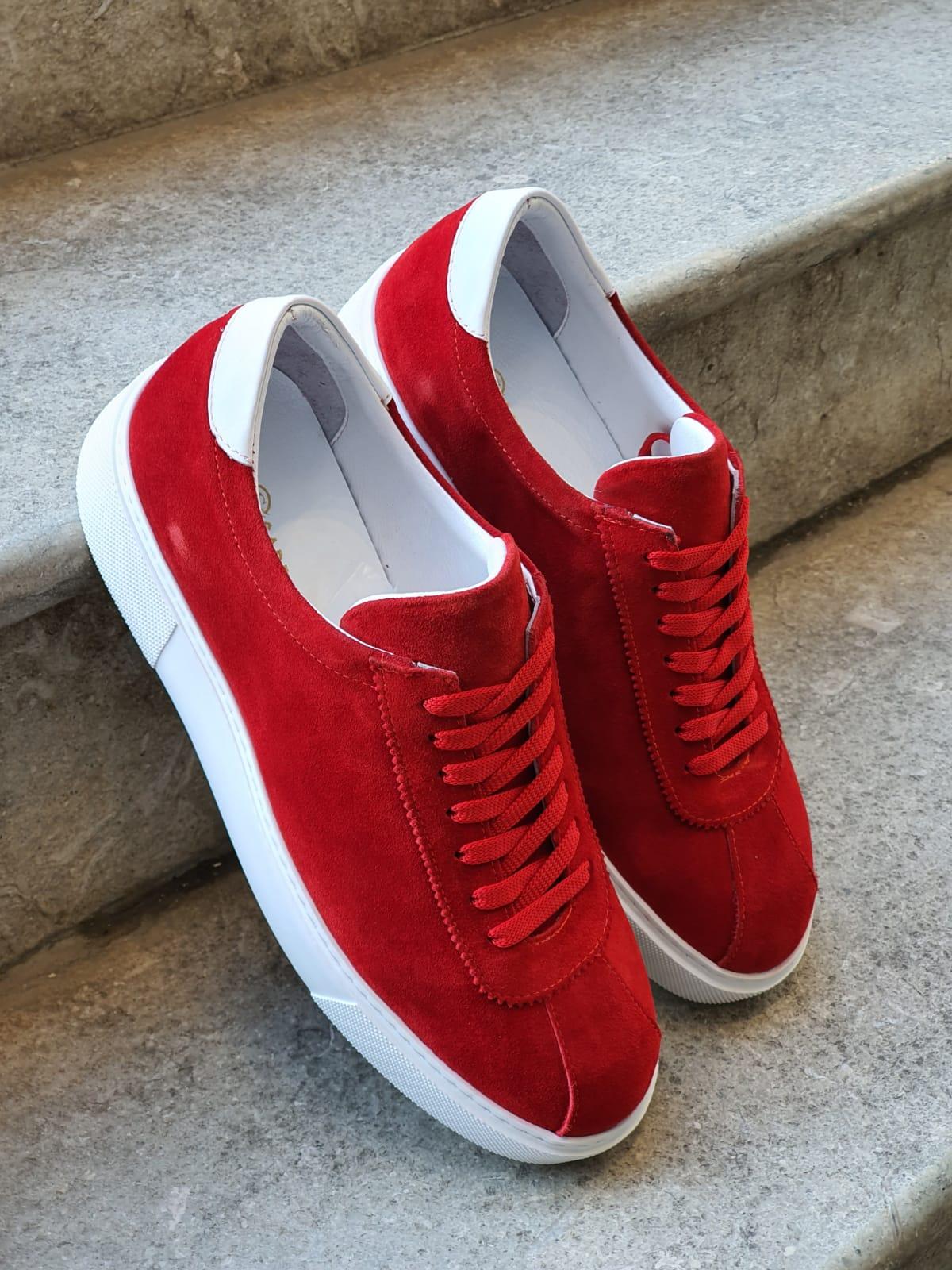 Aysoti Red Mid-Top Suede Sneaker
