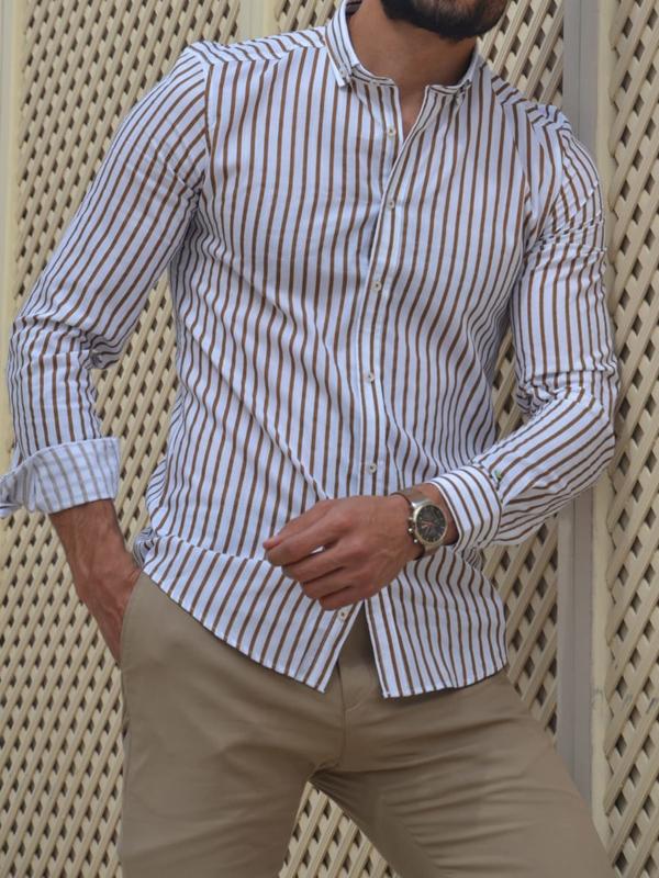 Aysoti Madison Beige Slim Fit Striped Cotton Shirt