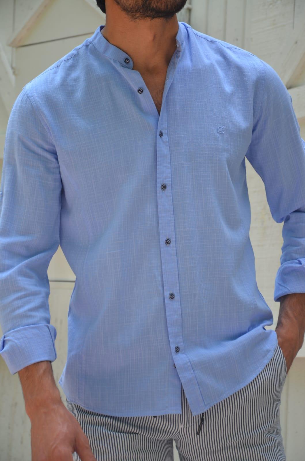 Aysoti Madison Blue Slim Fit Cotton Shirt