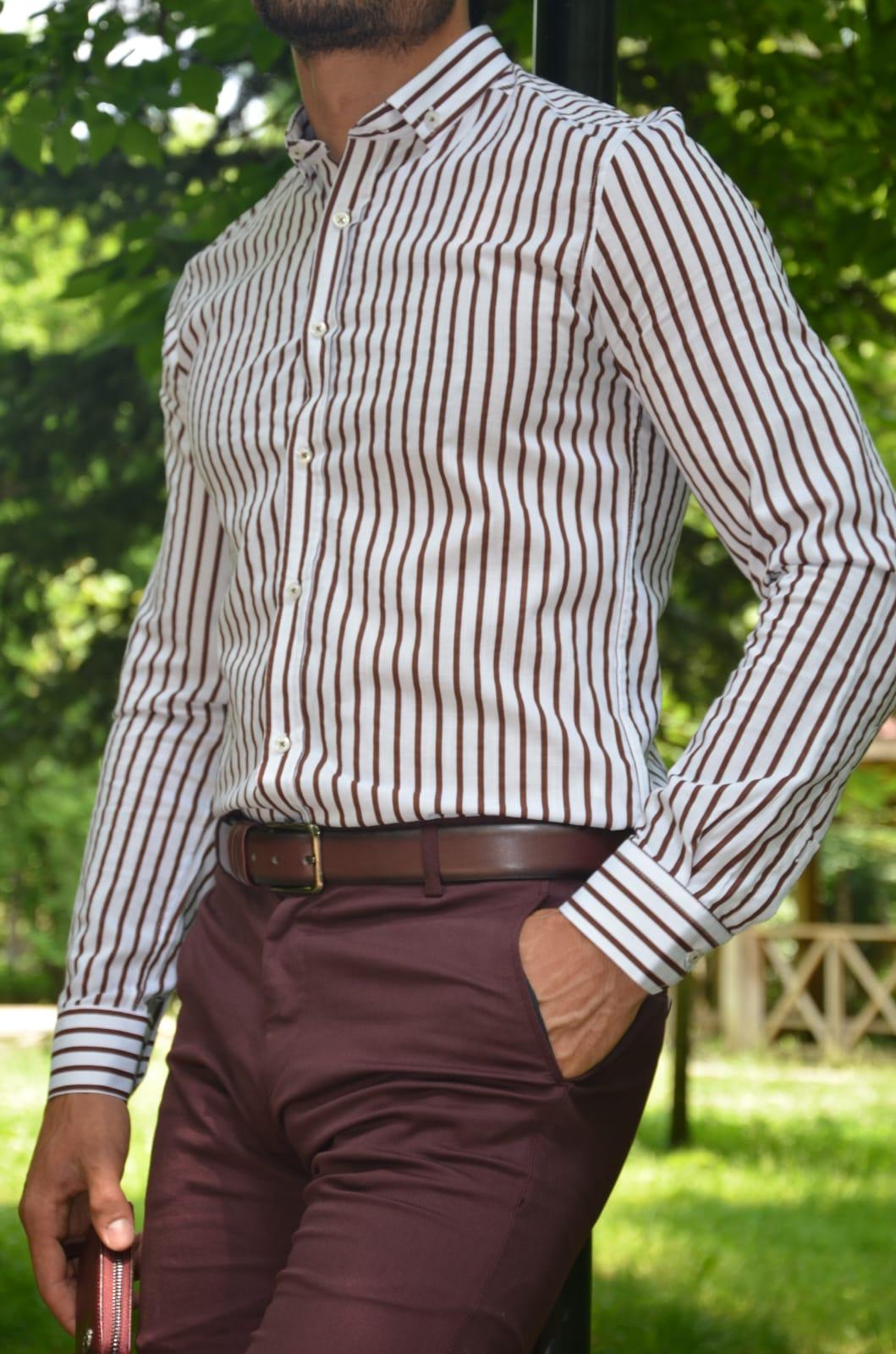 Aysoti Madison Brown Slim Fit Striped Cotton Shirt