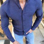 Aysoti Indigo Slim Fit Cotton Shirt