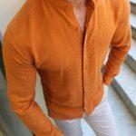 Aysoti Bright Orange Slim Fit Cotton Shirt