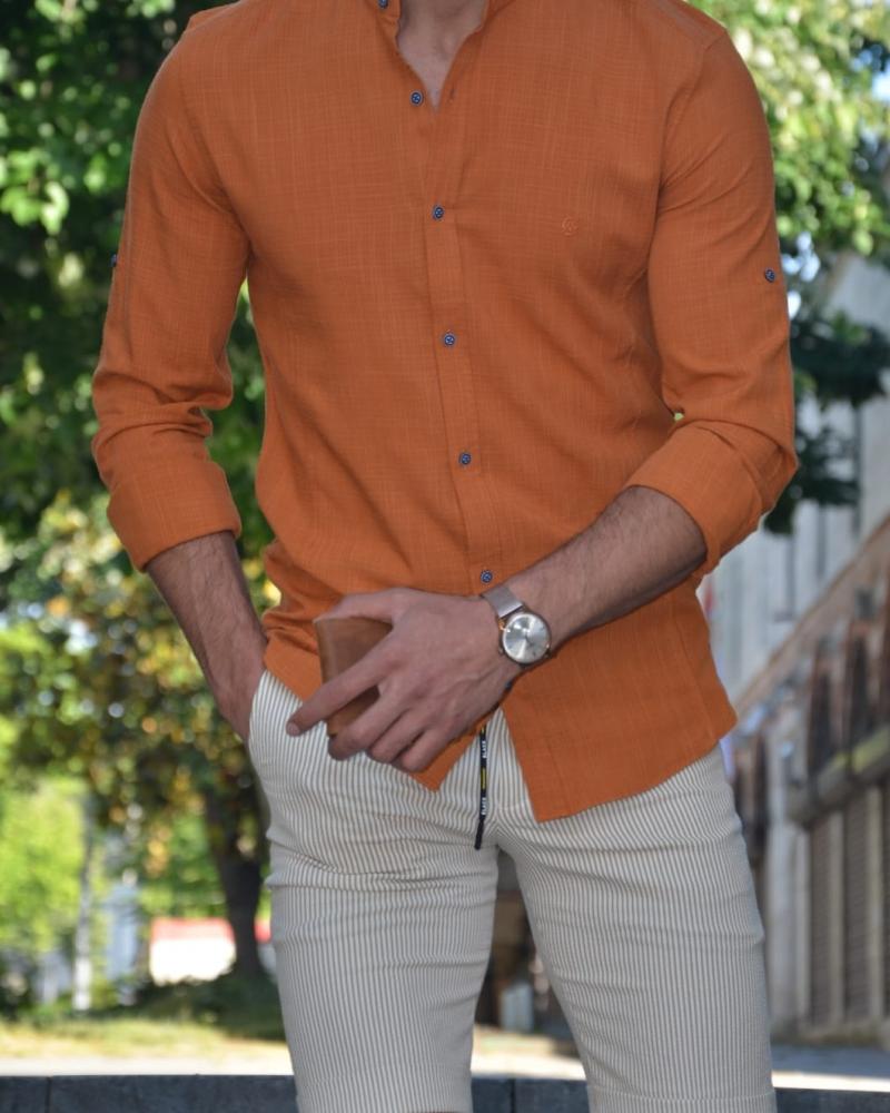 Aysoti Madison Orange Slim Fit Cotton Shirt