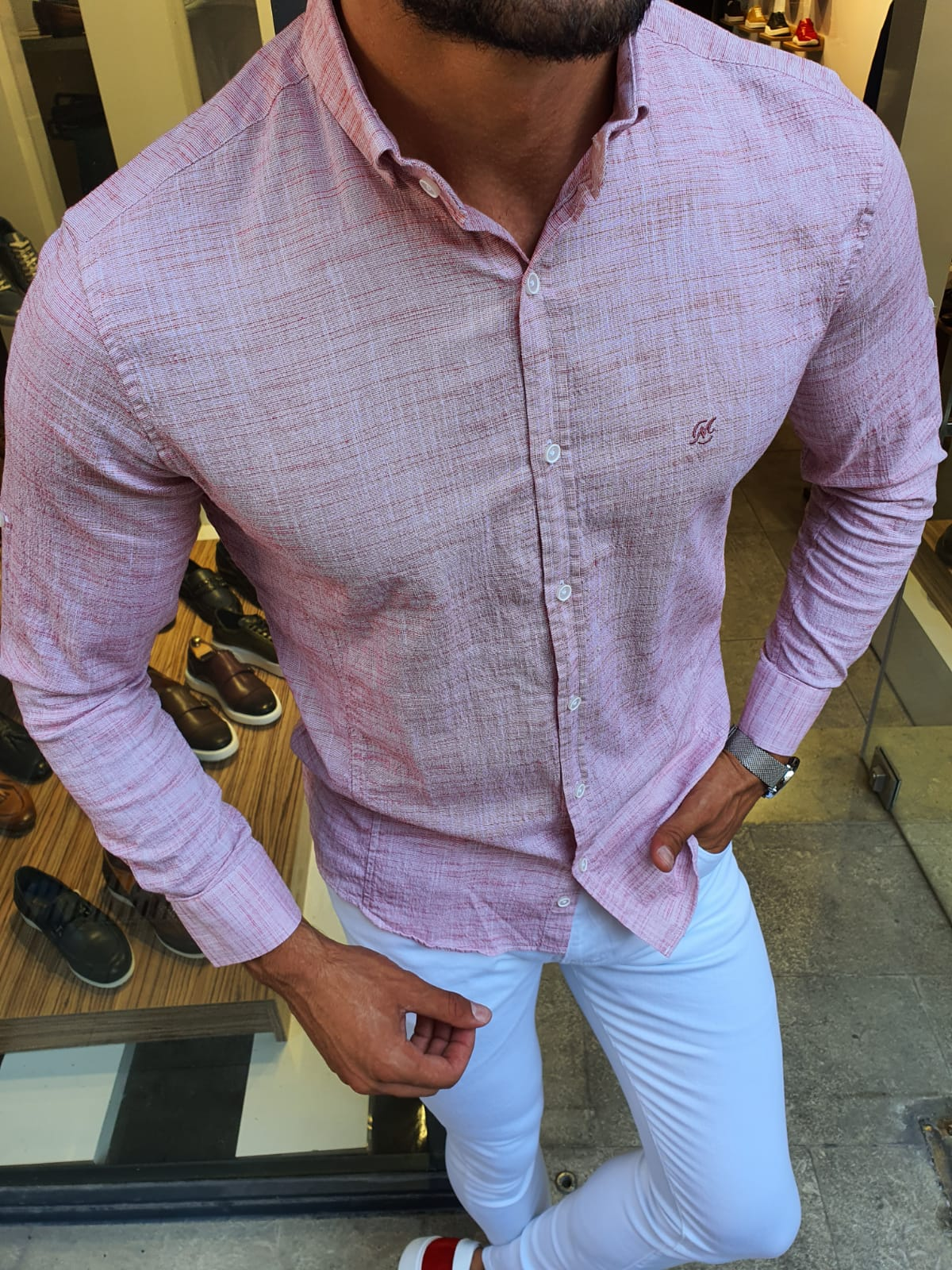 Aysoti Red Slim Fit Button Collar Shirt