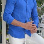 Aysoti Madison Sax Slim Fit Cotton Shirt