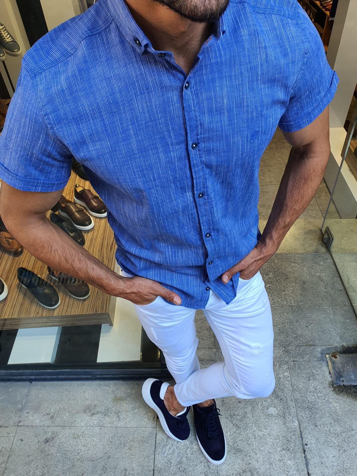 Aysoti Sax Slim Fit Short Sleeve Shirt