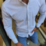 Aysoti White Slim Fit Button Collar Shirt