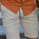 Aysoti Beige Slim Fit Striped Shorts
