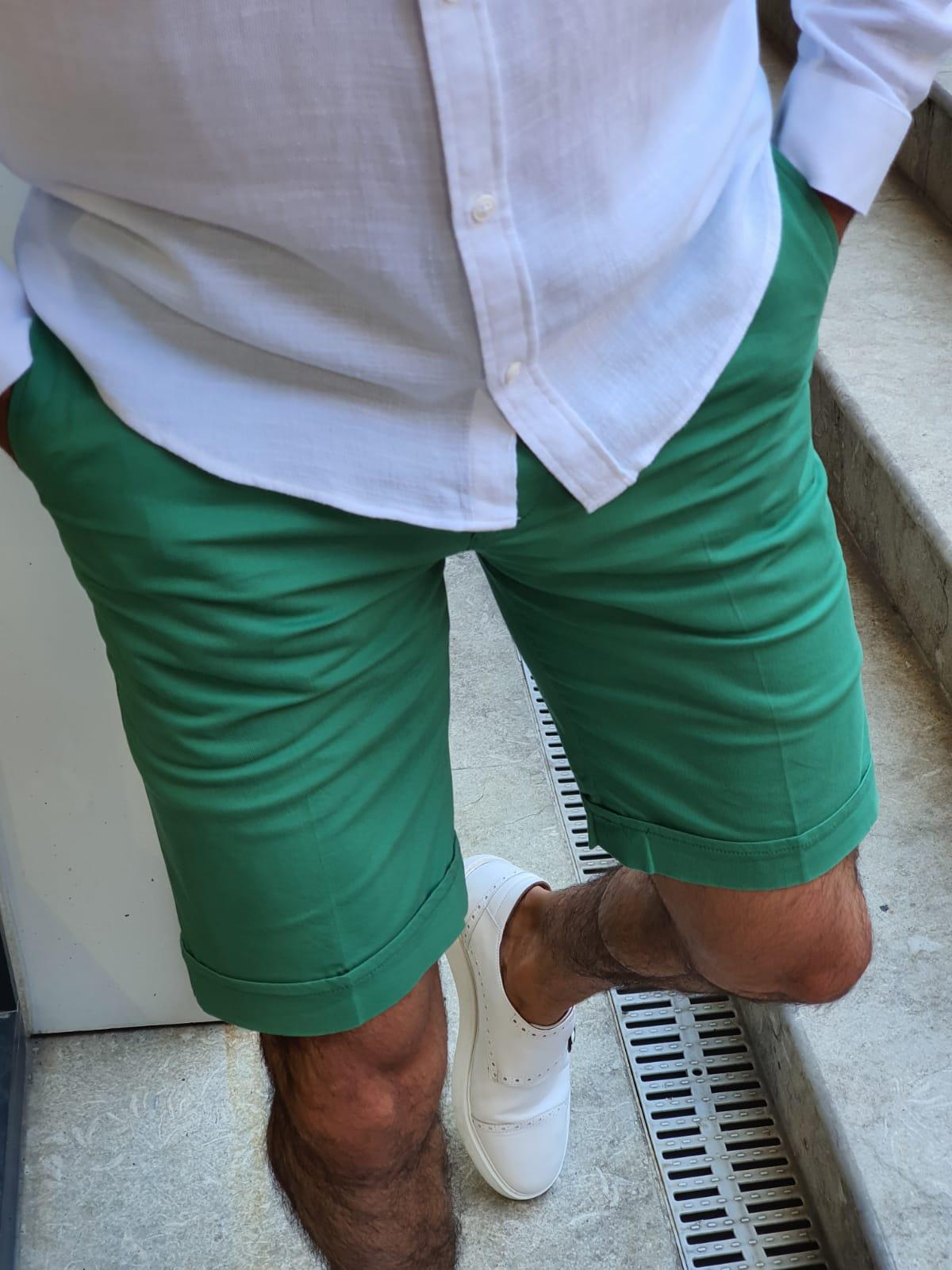 Aysoti Green Slim Fit Shorts