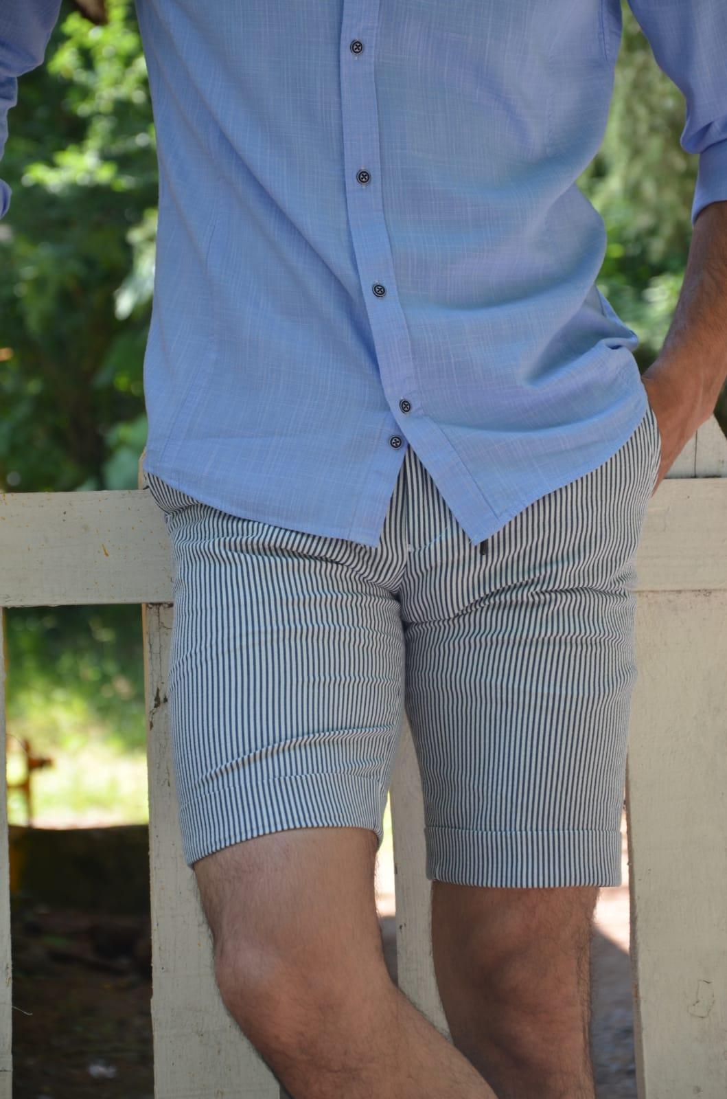 Aysoti Navy Blue Slim Fit Striped Shorts