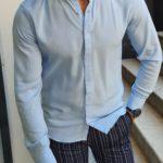 Aysoti Blue Slim Fit Button Collar Shirt