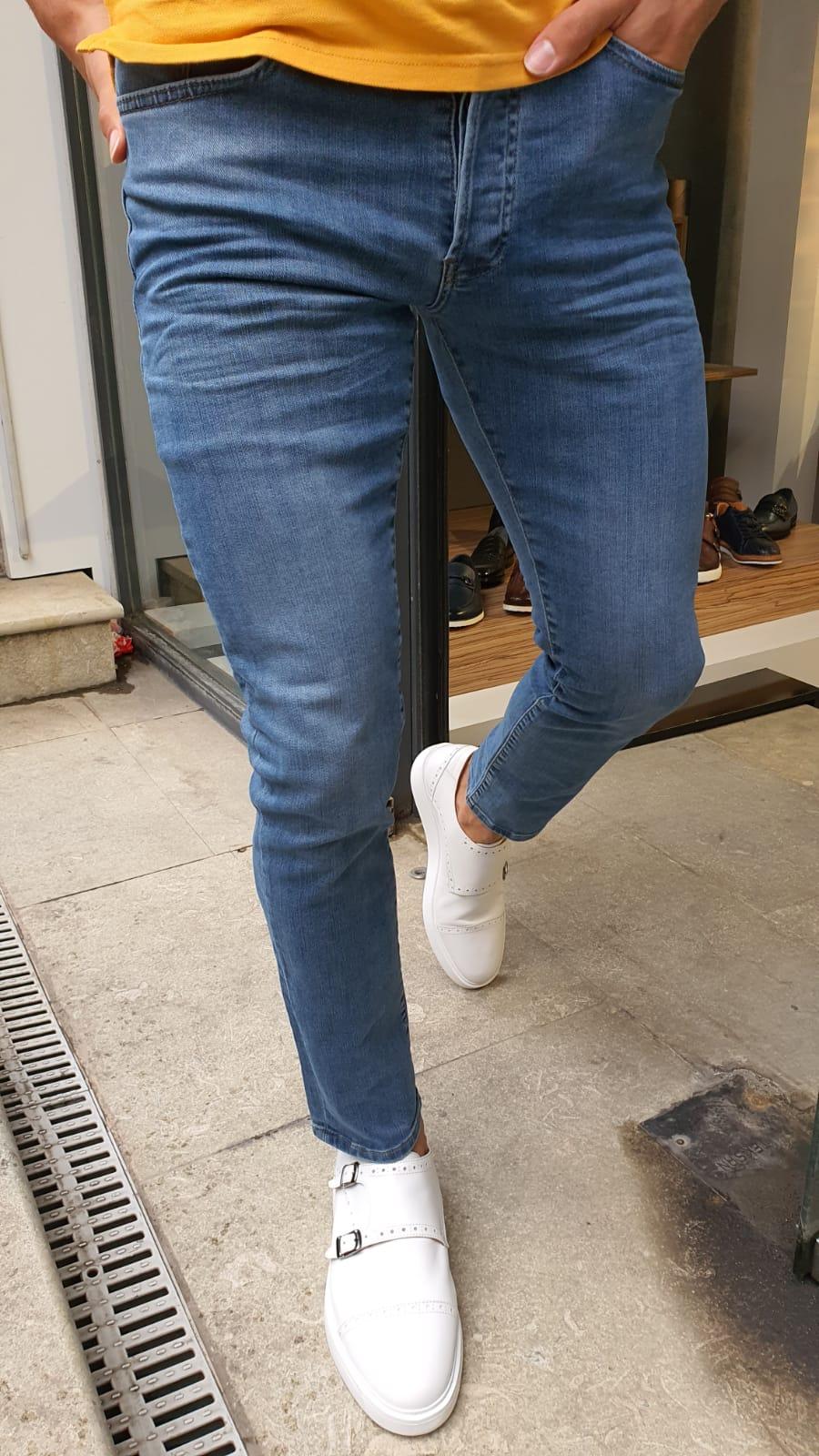 Brandon Blue Slim Fit Handmade Jeans