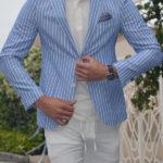 Aysoti Blue Slim Fit Striped Blazer
