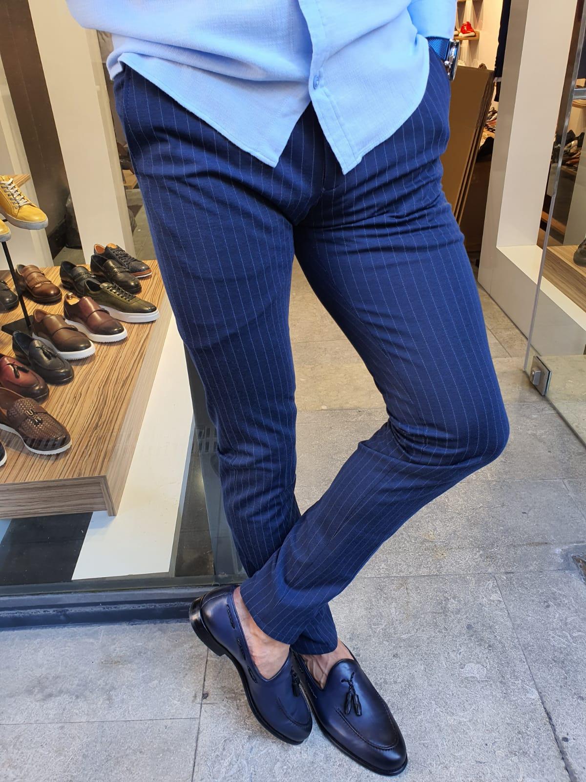 Aysoti Indigo Slim Fit Pinstripe Pants