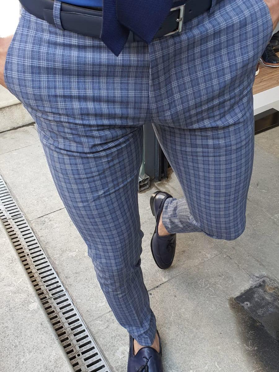 Aysoti Navy Blue Slim Fit Plaid Pants