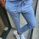 Aysoti Blue Slim Fit Laced Striped Pants