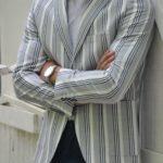 Aysoti Gray Slim Fit Striped Blazer