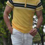 Aysoti Yellow Slim Fit Collar Neck Zipper Knitwear T-Shirt