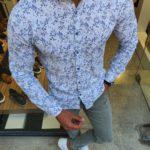 Aysoti Racine White Slim Fit Floral Shirt